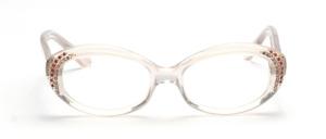 60er Jahre Damenfassung in silbrig Transparent mit seitlichem Stressdekor in Weiß und Pink