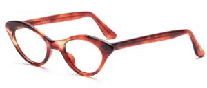 50er Jahre Vintage Cat Eye Brille in Havanna mit silbernen Ziernieten vorne und an den Bügeln