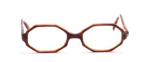 Achteckige 60er Jahre Brillenfassung in Havannabraun mit einem bläulichen Schimmer vorne