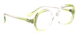 Schicke Damenbrille aus den 1960er Jahren in Transparent- Lila Verlaufend mit seitlichem Strassdekor in Weiß und Grün