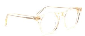 60er Jahre Retro Herrenbrille in transparent Champagner mit Ziernieten vorne und an den Bügeln