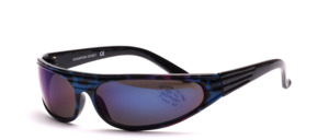 Sporty, trendy sunglasses with heavily curved discs