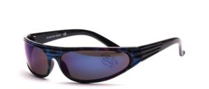 Sportliche, poppige Sonnenbrille mit stark gekurvten Scheiben