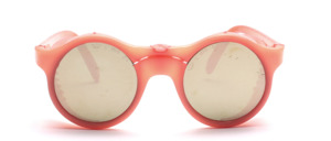Poppige runde Nylon Sonnenbrille im sportlichen Look mit Seitenschutz und verschraubtem Rahmen