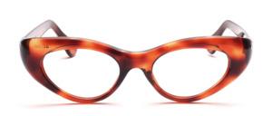 Kräftige Vintage Cat Eye Brille aus den 60er Jahren aus Acetat mit seitlichen Ziernieten in Havanna