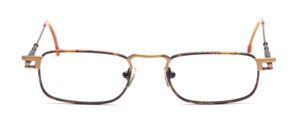 Men's frame in antique gold with brown patterned glass rim and and flexible hinge