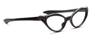 60er Jahre Vintage Cat Eye Brille für Damen mit geraden Schläfenbügeln und mit Strass und geriffelter Oberflächenstruktur am Mittelteil