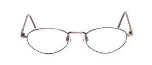 Almost an oval metal frame in antique silver with a blue patterned glass rim and flexible hinge on the temples