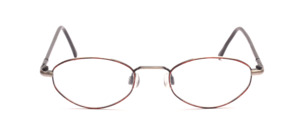 Almost an oval metal frame in antique silver with a brown patterned glass rim and flex hinge on the temples