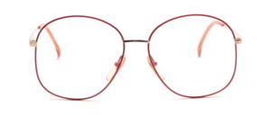 Vintage 80s ladies' Frame in gold with red glass rim