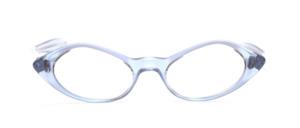 60er Jahre Damenfassung in Transparent Blau schimmernd aus Acetat mit Schläfenbügeln