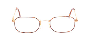 Feather-thin thin-edged metal frame in matt gold with a brown patterned glass rim