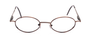 Oval metal glasses in metallic brown with brown patterned glass rim and with flexible hinge