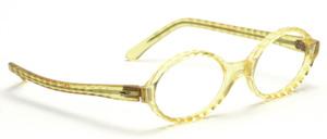 Ovale Brillenfassung aus den 60er Jahren mit einem gewellten Rand in Transparent Gelb