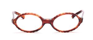 Ovale Brillenfassung aus den 60er Jahren mit einem gewellten Rand in Havanna