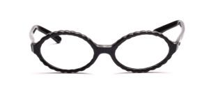 Ovale Brillenfassung aus den 60er Jahren mit einem gewellten Rand in Schwarz