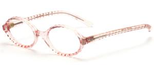 Ovale Brillenfassung aus den 60er Jahren mit einem gewellten Rand in Transparent Rosa