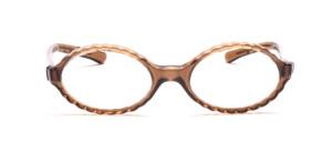 Ovale Brillenfassung aus den 60er Jahren mit einem gewellten Rand in Transparent Braun