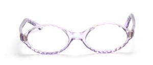 Ovale Brillenfassung aus den 60er Jahren mit einem gewellten Rand in Transparent Lila
