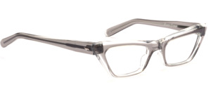 Original 60er Jahre Vintage Cat Eye Brille für Damen in Transparent Grau