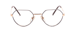 The top of the 80s snatched Frame in gold with a blue glass rim