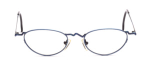 Fancy ladies frame in metallic blue with blue patterned nose bridge and ironing