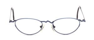 Ausgefallene Damenfassung in metallic Blau mit Blau gemustertem Nasensteg und Bügeln