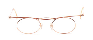 Feminine ladies' Frame in gold with a curved brown upper edge