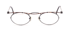 Feminine ladies frame in black with a curved brown painted upper edge