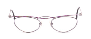Feminine metal frame in delicate lilac with purple-colored patterned top bar and straps