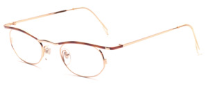 Golden ladies' Frame with attached straps and brown patterned upper edge