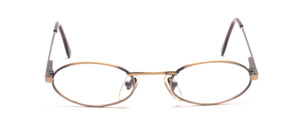 Flat oval metal frame in antique gold with flexible hinge