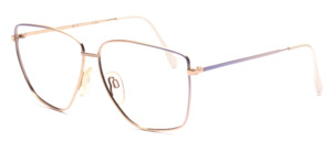 80's metal frame for ladies in gold with a purple gradient paint decor on the sides and the temples