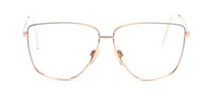 80's metal frame for ladies in gold with a turquoise gradient lacquer finish on the sides and the temples