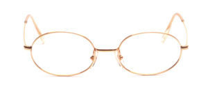 Oval eyeglass frame from Rozin Optical which has been finished with 14 KT gold