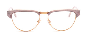 Combination goggles in cateye form from the 80s in gold with gray-gold patterned acetate edge and ironing