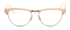 Combination goggles in cateye form from the 80s in gold with white gold patterned acetate edge and ironing