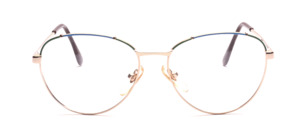Gold 1980s womens glasses in blue and green accents