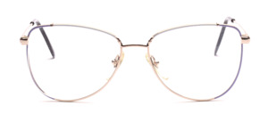 80s ladies' Frame in gold with a white and purple decorated glass rim