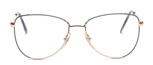 80s ladies' Frame in gold with a blue and green decorated glass rim
