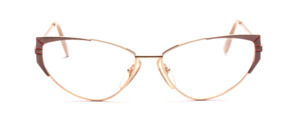 Cat Eye metal gold women's glasses with brown and orange side decor