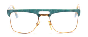 Goggles for men in gold with a green marbled upper edge and ironing