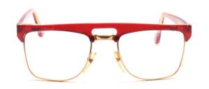 Kombibrille für Herren in Gold mit einem Rot marmoriertem Oberrand und Bügeln