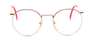 Golden metal frame in Pantoform with a glass rim painted in red and white