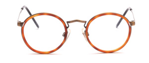 High-quality panto glasses in antique gold with fine chiselling and an inner cell ring in Havana colors