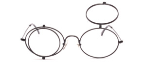 Oval metal frame with round clips that can be folded up individually