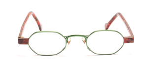 Grass green metal glasses for women with brown patterned acetate jaws and straps
