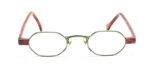 Grasgrüne Metallbrille für Damen mit Braun gemusterten Acetatbacken und Bügeln