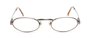 Oval metal frame in antique silver with high nose bridge and flexible hinge