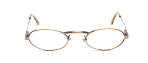 Oval metal frame in antique gold with high nose bridge and flexible hinge